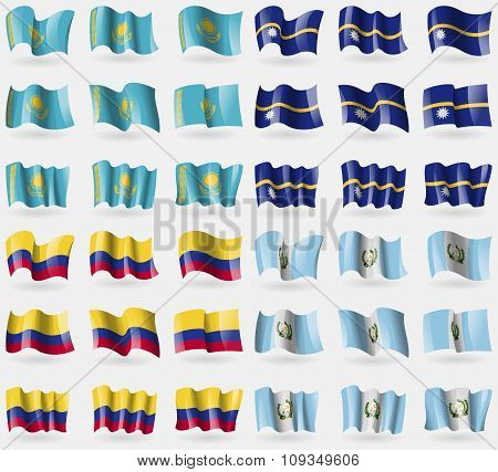 Kazakhstan, Nauru, Colombia, Guatemala. Set Of 36 Flags Of The Countries Of The World.