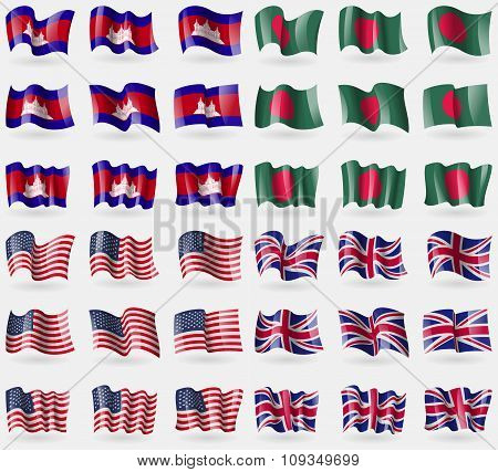Cambodia, Bangladesh, Usa, United Kingdom. Set Of 36 Flags Of The Countries Of The World.