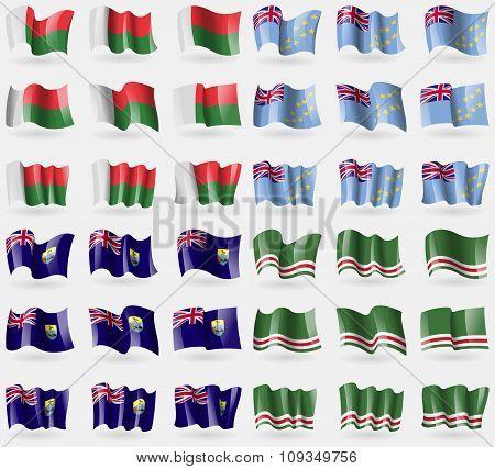 Madagascar, Tuvalu, Saint Helena, Chechen Republic Of Ichkeria. Set Of 36 Flags Of The Countries