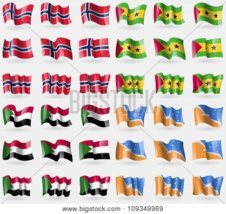 Norway, Sao Tome And Principe, Sudan, Tierra Del Fuego Province. Set Of 36 Flags Of The Countries