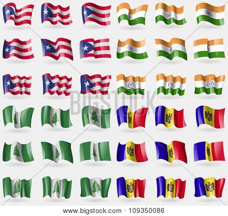 Puerto Rico, India, Norfolk Island, Moldova. Set Of 36 Flags Of The Countries Of The World.