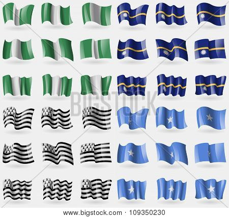Nigeria, Nauru, Brittany, Somalia. Set Of 36 Flags Of The Countries Of The World.