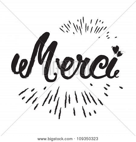 Merci Hand Lettering. Modern Brush Calligraphy. The Handwritten Word Thank You In French