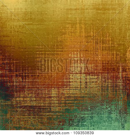 Dirty and weathered old textured background. With different color patterns: yellow (beige); brown; green
