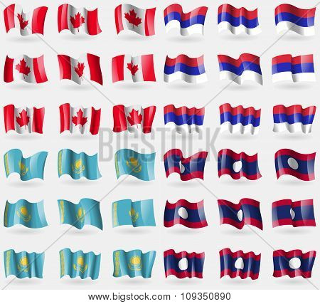 Canada, Republic, Kazakhstan, Laos. Set Of 36 Flags Of The Countries Of The World.
