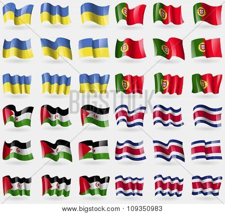 Ukraine, Portugal, Western Sahara, Costa Rica. Set Of 36 Flags Of The Countries Of The World.