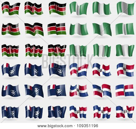 Kenya, Nigeria, French And Antarctic, Dominican Republic. Set Of 36 Flags Of The Countries Of