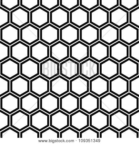 Repeating black and white hexagon pattern