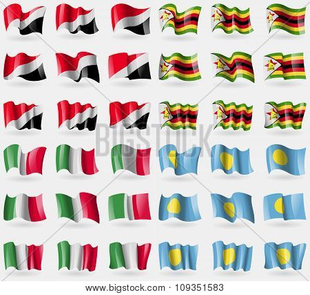 Sealand Principality, Zimbabwe, Italy, Palau. Set Of 36 Flags Of The Countries Of The World.