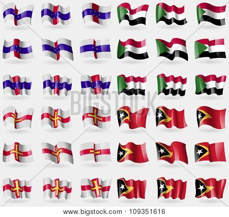 Netherlands Antilles, Suda, Guernsey, East Timor. Set Of 36 Flags Of The Countries Of The World.
