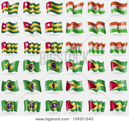 Togo, Niger, Brazil, Guyana. Set Of 36 Flags Of The Countries Of The World.