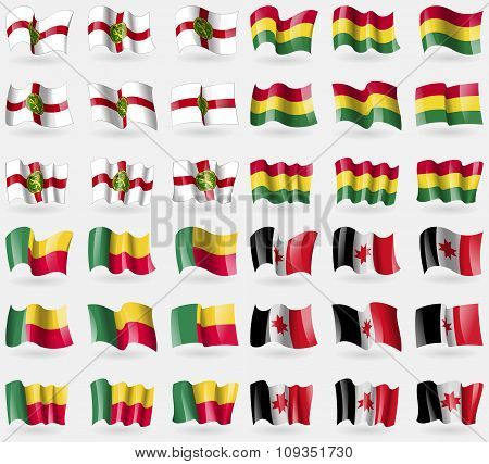 Alderney, Bolivia, Benin, Udmurtia. Set Of 36 Flags Of The Countries Of The World.