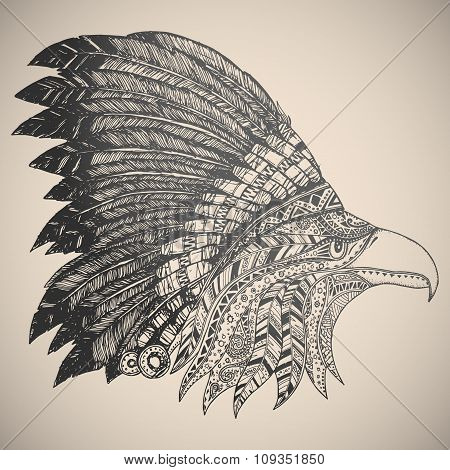Eagle in oriental tribal ornament.