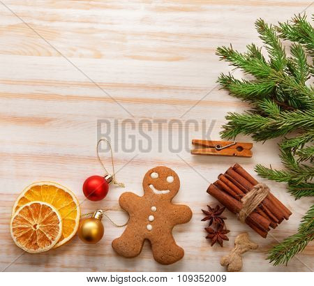 gingerbread Christmas tree and gifts on wooden table