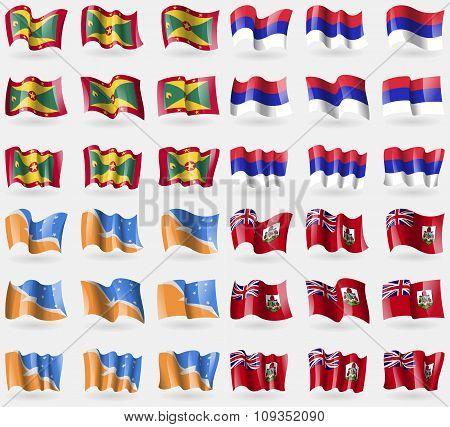 Grenada, Republika Srpska, Tierra Del Fuego Province, Bermuda. Set Of 36 Flags Of The Countries Of