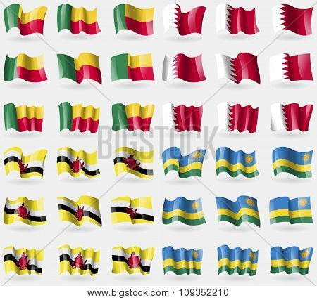 Benin, Bahrain, Brunei, Rwanda. Set Of 36 Flags Of The Countries Of The World.