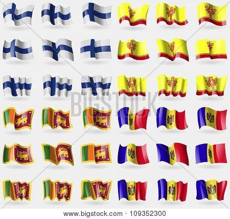 Finland, Chuvashia, Sri Lanka, Moldova. Set Of 36 Flags Of The Countries Of The World.