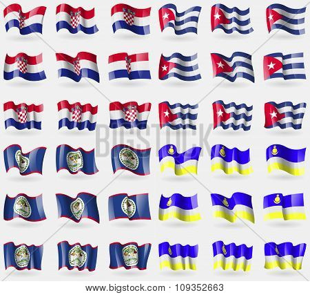 Croatia, Cuba, Belize, Buryatia. Set Of 36 Flags Of The Countries Of The World.