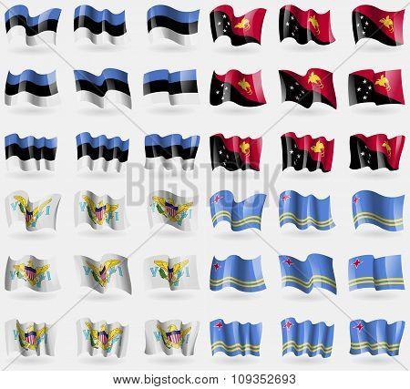 Estonia, Papua New Guinea, Virginislandsus, Aruba. Set Of 36 Flags Of The Countries Of The World.