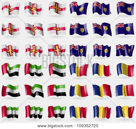 Guernsey, Turks And Caicos, United Arab Emirates, Romania. Set Of 36 Flags Of The Countries Of The W