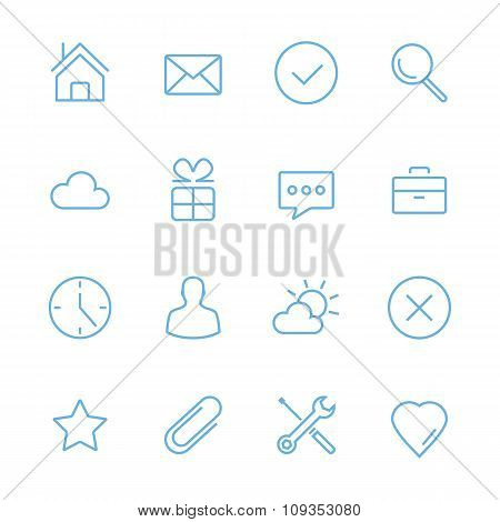 Vector blue flat line icons set. Minimal style design. Isolated on white background