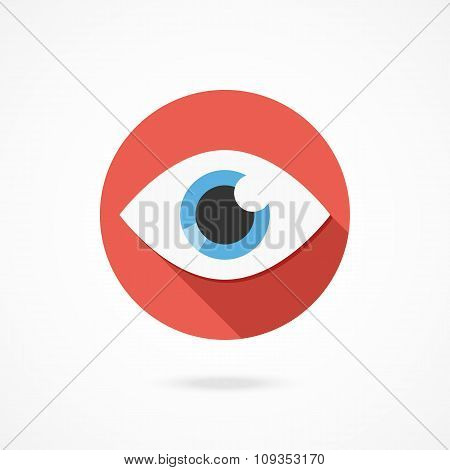 Vector eye icon. Modern flat style design logo with long shadow. Isolated on gradient background