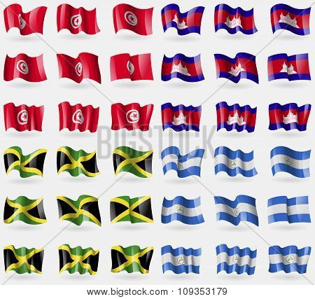Tunisia, Cambodia, Jamaica, Nicaragua. Set Of 36 Flags Of The Countries Of The World.
