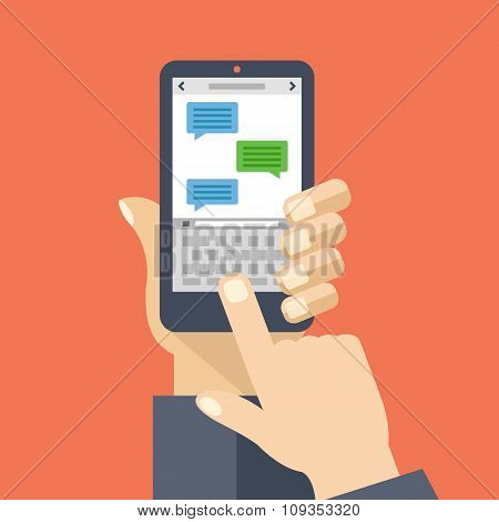 Texting app on smartphone screen. Messaging service. Creative flat design vector illustration