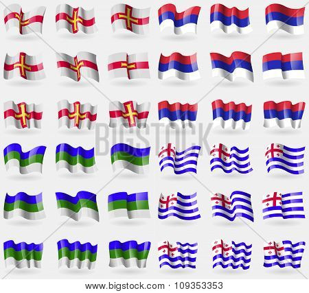 Guernsey, Republika Srpska, Komi, Ajaria. Set Of 36 Flags Of The Countries Of The World.