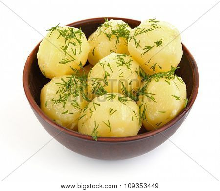 Boiled potatoes with dill in bowl isolated on white