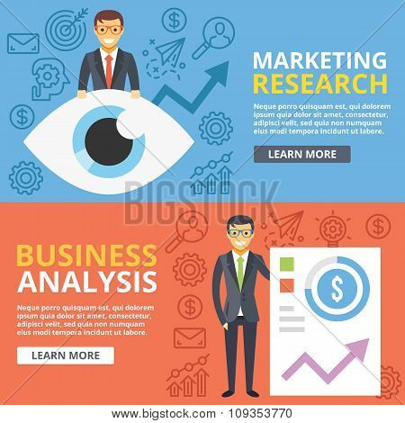 Marketing research, business analysis flat illustration web banners set. Vector illustration