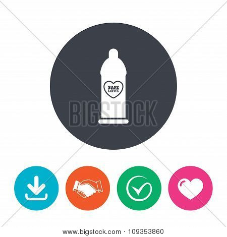 Condom safe sex sign icon. Barrier contraceptive