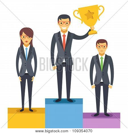 Woman and 2 men standing on pedestal. Man holds a golden cup. Vector illustration
