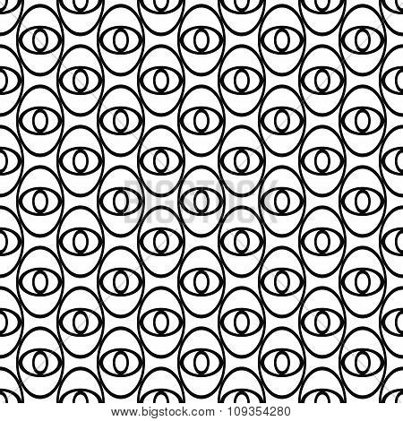 Monochrome abstract ellipse eye repeat pattern