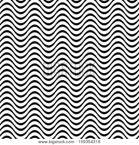 Black and white 3D seamless wave pattern