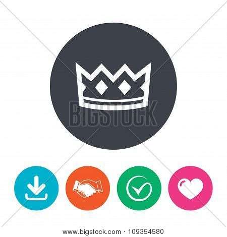 Crown sign icon. King hat symbol.