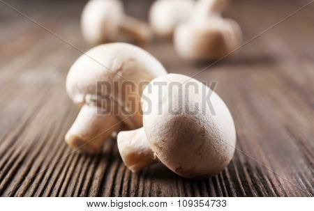 Champignon mushrooms on grey wooden background