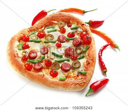 Tasty heart shaped pizza decorated with hot peppers isolated on white background