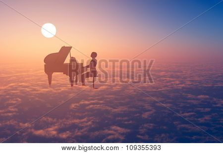Woman playing the piano in the clouds.
