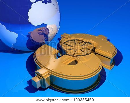 Model of the globe and gold bars on a blue background