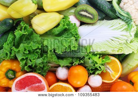 Colourful composition of fruit and vegetable, close up