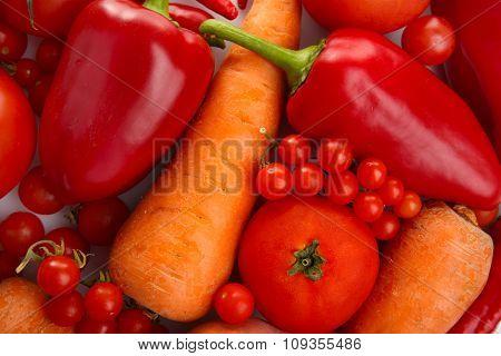 Red vegetables background, close up