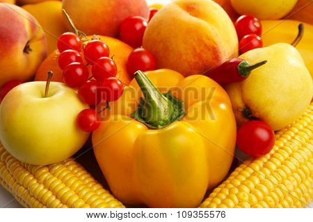 Colourful, juicy, tasty, healthy  fruit and vegetables background