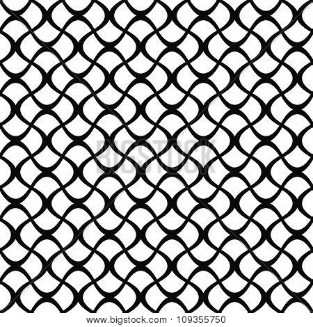 Monochrome seamless curly fence pattern