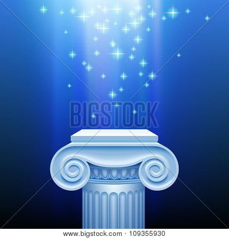 Antique classic capital against a blue luminous sparkling background. Presentation place with an ancient column in blue light. Vector illustration