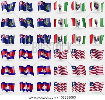 Pitcairn Islands, Bosnia And Hezegovina Federation, Cambodia, Liberia. Set Of 36 Flags Of The