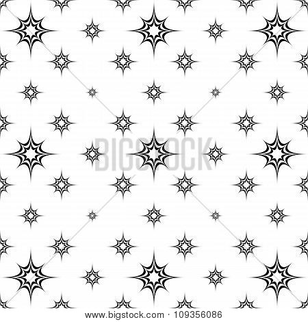 Abstract seamless monochrome star pattern background