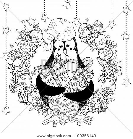 Christmas penguin with gift box zentangle doodle.