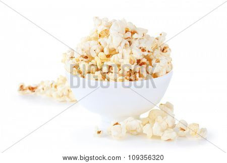 Salted popcorn isolated on white background