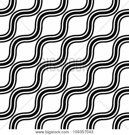 Seamless monochrome angular wave pattern